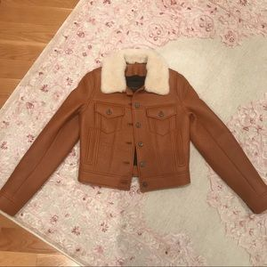 Coach XS Leather Moto Jacket Shearling Collar